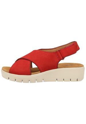 CLARKS SANDALEN - Wedge sandals - red