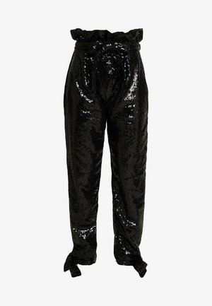 SPARKLING TIE PANTS - Stoffhose - black