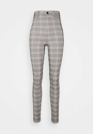 VMAUGUSTA SKINNY CHECK PANT - Trousers - black/white/yellow