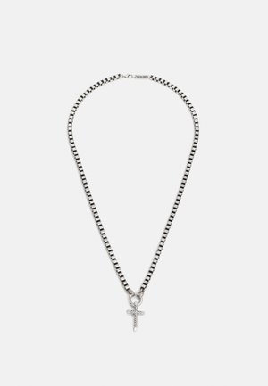 TEXTURED CROSS NECKLACE - Necklace - silver-coloured