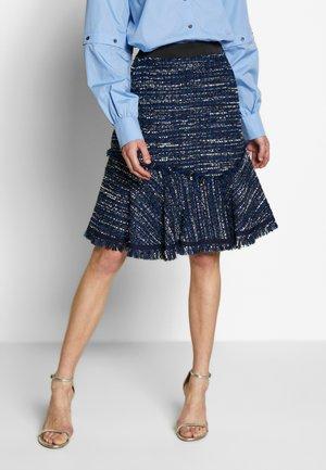 BLUE BOUCLE SKIRT - A-line skirt - blue boucle