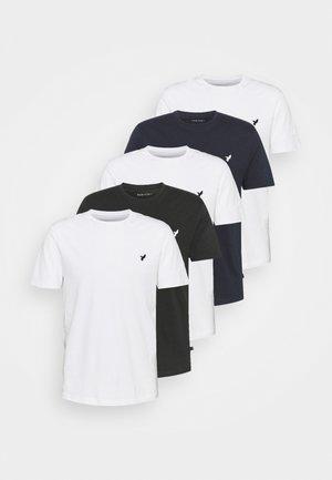 5 PACK - T-shirt - bas - white/black/dark blue