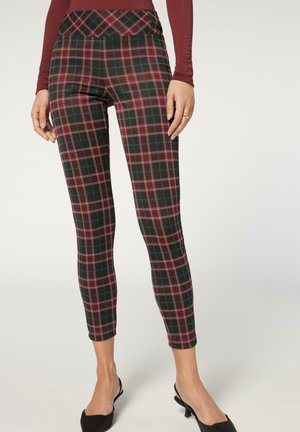 MIT SCHOTTENMUSTER - Leggings - Trousers - grun red tartan print