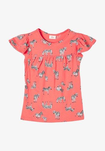 Print T-shirt - coral aop