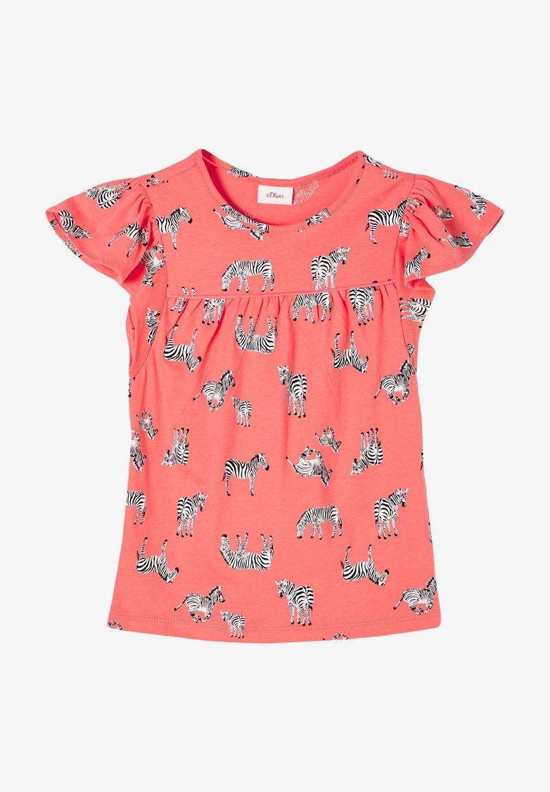 s.Oliver - Print T-shirt - coral aop