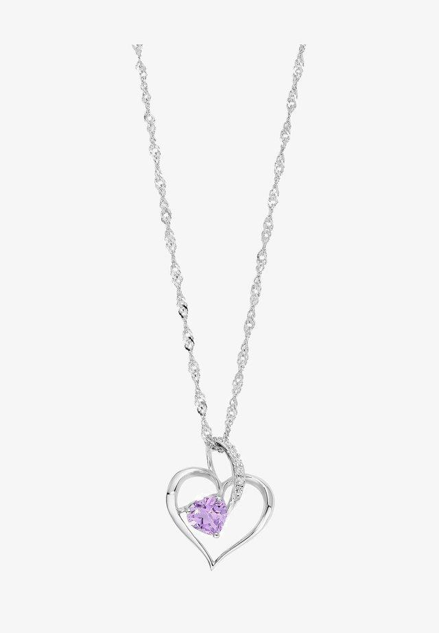 MIT HERZANHÄNGE - Necklace - lila