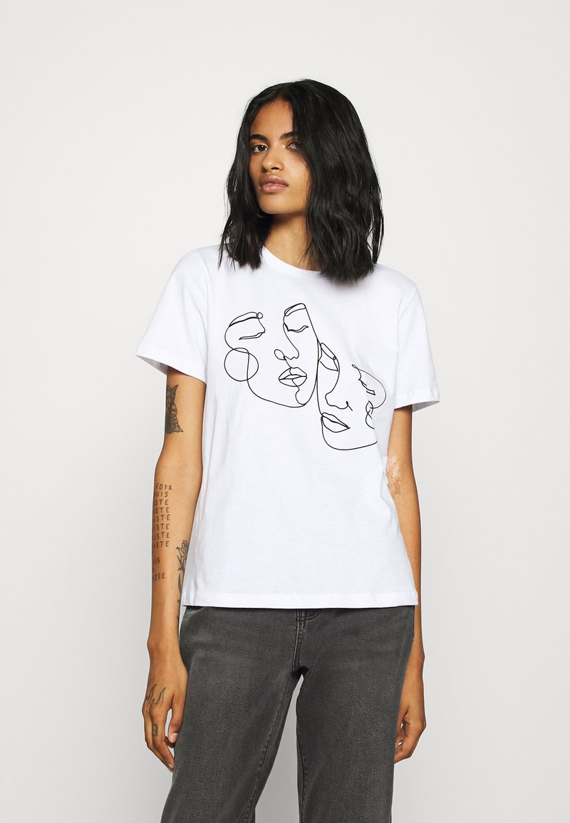 Even&Odd - T-shirt med print - white