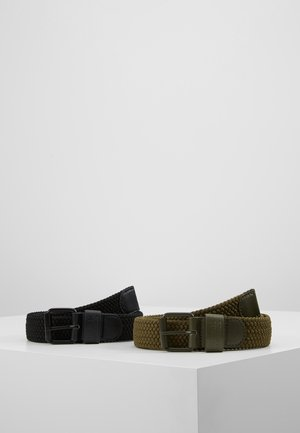 ELASTIC BELT 2 PACK - Braided belt - black/olive