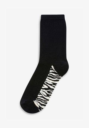 ANIMAL PRINT FOOTBED ANKLE SOCKS 5 PACK - Socks - black