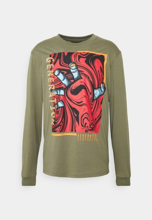 FRONT GRAPHIC LONG SLEEVE TEE - Long sleeved top - khaki