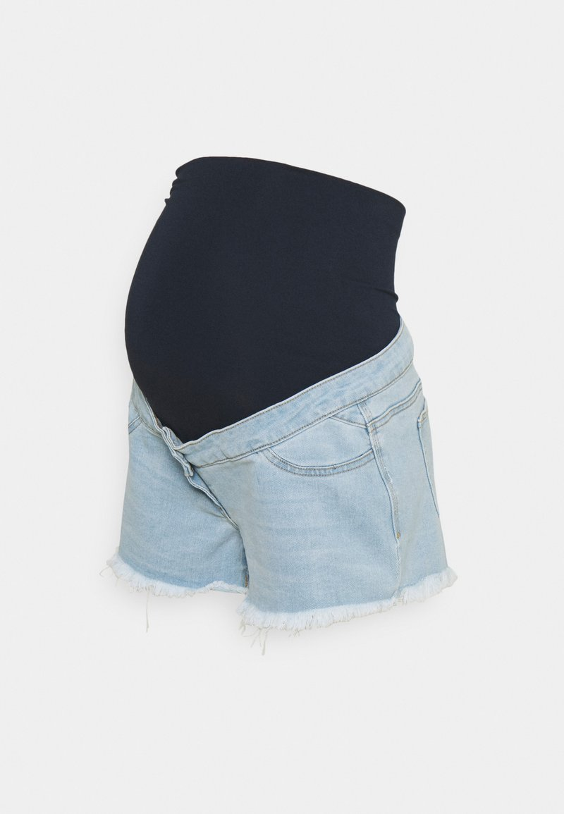 Missguided Maternity - MATERNITY FRAYED HEM - Denim shorts - blue