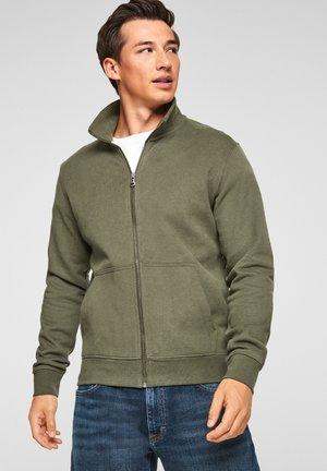 Zip-up sweatshirt - khaki/oliv melange