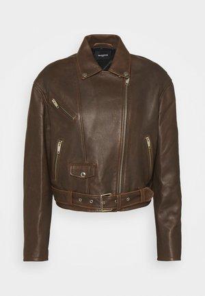 JACKET - Leather jacket - dark brown