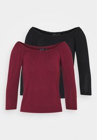 Dorothy Perkins - 2 PACK 3/4 SLEEVE BARDOT - Long sleeved top - black - 5
