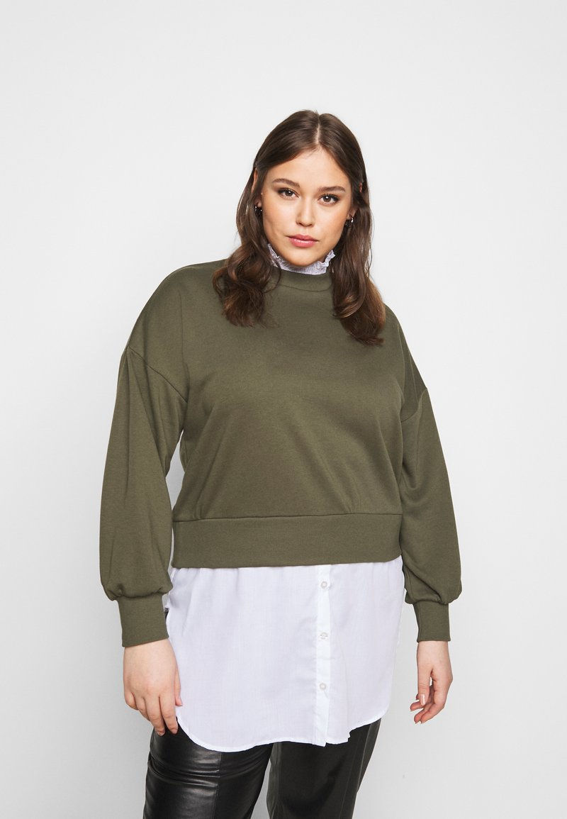 Noisy May Curve - NMHANNAH LONG PULLOVER CURVE - Neule - olive night