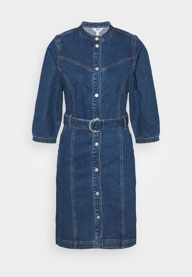 OBJMALOU DRESS  - Denim dress - dark blue