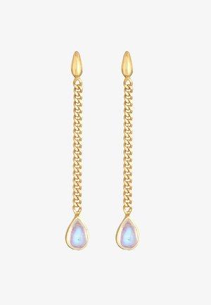 HÄNGER PANZERKETTE MONDSTEIN TROPFEN  - Earrings - gold