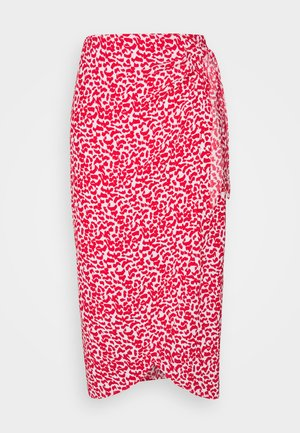 PRINT WRAP MIDI - Pencil skirt - red