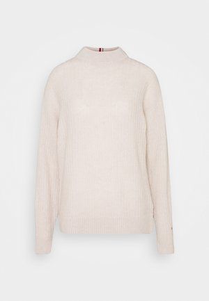 TEXTURED STITCH MOCK - Jumper - vintage white