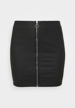 PCROXY ZIP COATED SKIRT - Mini skirt - black