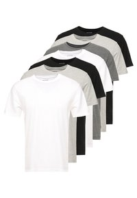 BASIC CREW 7 PACK - Basic T-shirt - black/white/grey