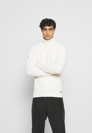 STRUCTURED TURTLENECK - Stickad tröja - white