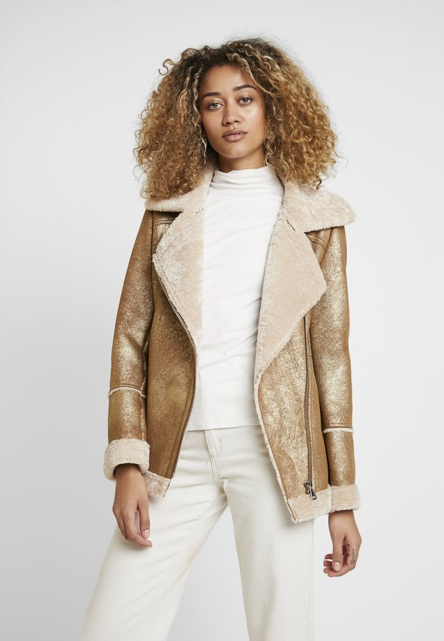 Faux leather jacket - gold