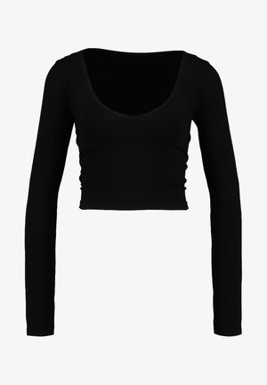 LONG SLEEVE V NECK - Long sleeved top - black