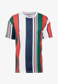 Urban Classics - HEAVY OVERSIZED BIG STRIPE TEE - Print T-shirt - white/navy - 3