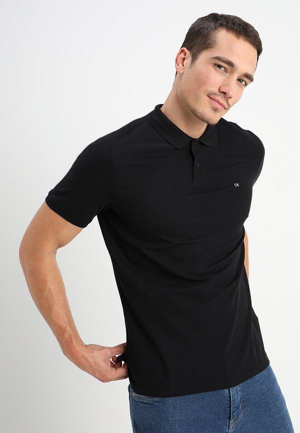 Calvin Klein REFINED CHEST LOGO - Koszulka polo - perfect black/czarny Odzież Męska IRWL