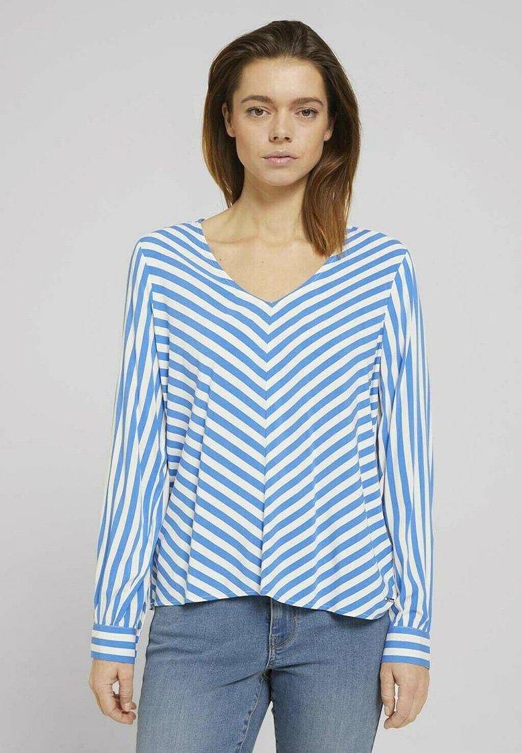 TOM TAILOR DENIM - Blouse - mid blue white stripe