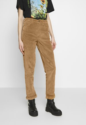 MOM WIDE WALE - Trousers - cognac