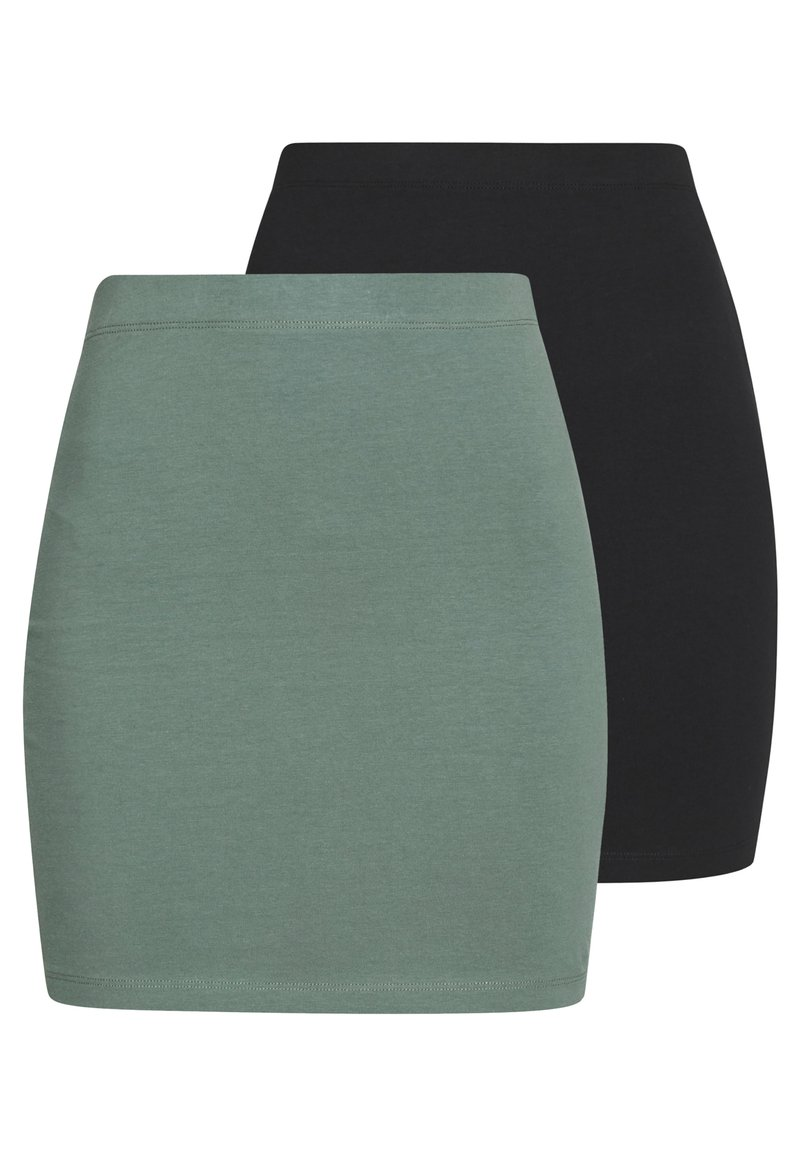 Even&Odd - 2 PACK - Mini skirt - khaki/black