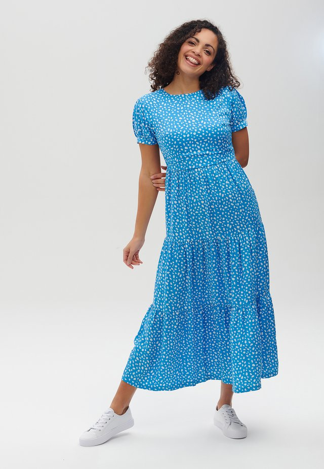 POLLY SPOT SMOCK - Robe longue - blue