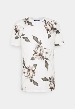 FLORAL TEE - Print T-shirt - winter white