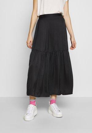 PLAIN TIERED - Maxi sukně - black