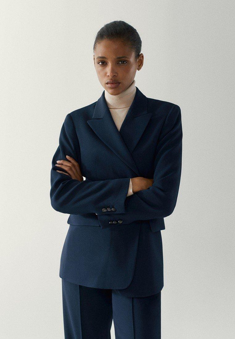 Massimo Dutti - MIT EINEM KNOPF - Blazer - blue-black denim