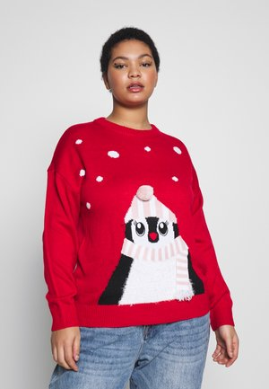 CURVES XMAS PENGUIN FAMILY JUMPER - Jumper - red