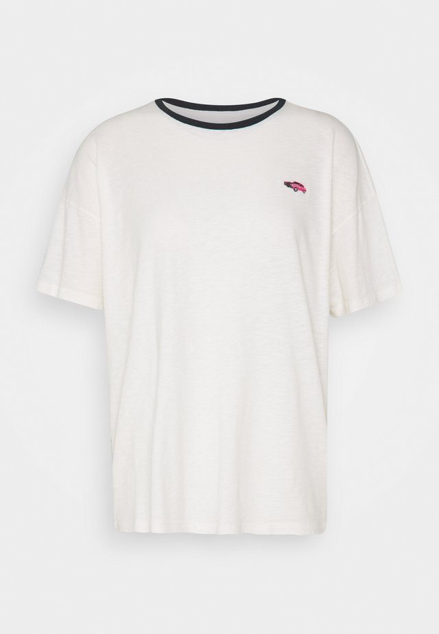 CAR EMBROIDERY DINER OVERSIZE TEE - T-shirts med print - cream