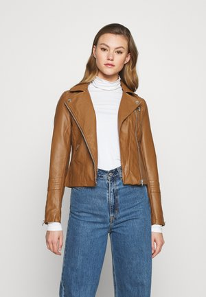 ONLGEMMA BIKER - Faux leather jacket - cognac