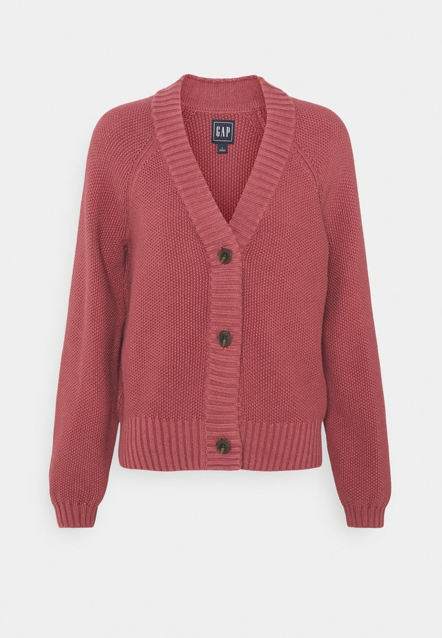 TEXTURED ABBREVIATED - Cardigan - roan rouge