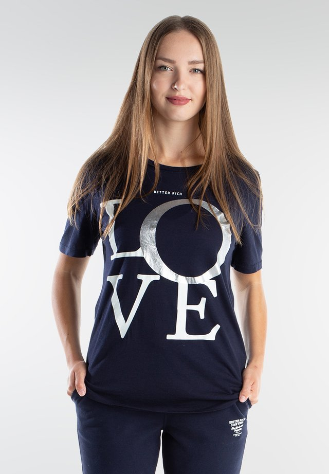 LOVE - Print T-shirt - navy