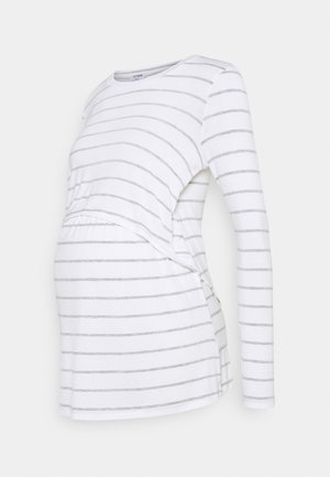 MATERNITY - Long sleeved top - white/grey