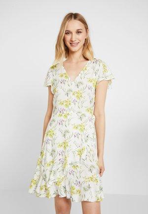 RUFFLE WRAP MINI DRESS - Day dress - white