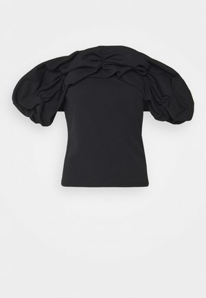 RUFFLE NECK BARDOT - T-shirt con stampa - black