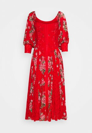 MAIDEN MEMPHIS DRESS - Juhlamekko - shabby floral blood orange