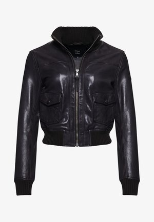 LEATHER BOMBER  - Leather jacket - chocolate brown