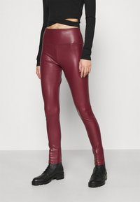 Hollister Co. - Leggings - Trousers - burgundy leather - 0