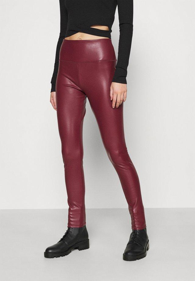 Leggings - Trousers - burgundy leather