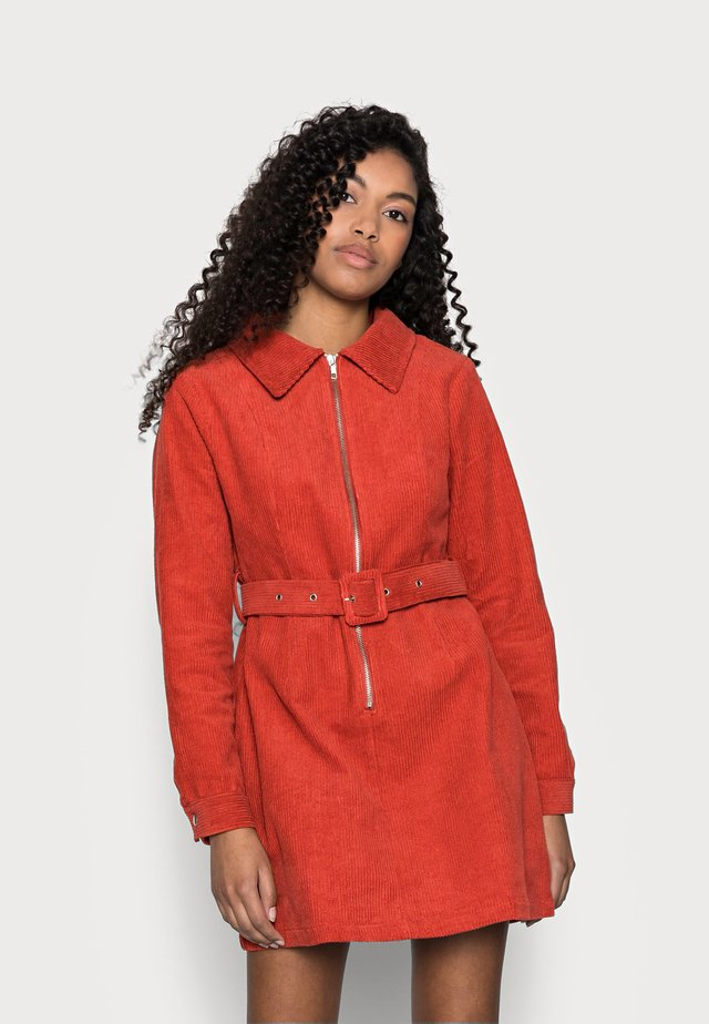 LADIES DRESS - Shirt dress - burnt orange